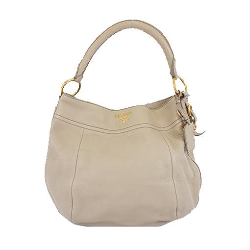 Auth Prada Women's Leather Shoulder Bag Grayish