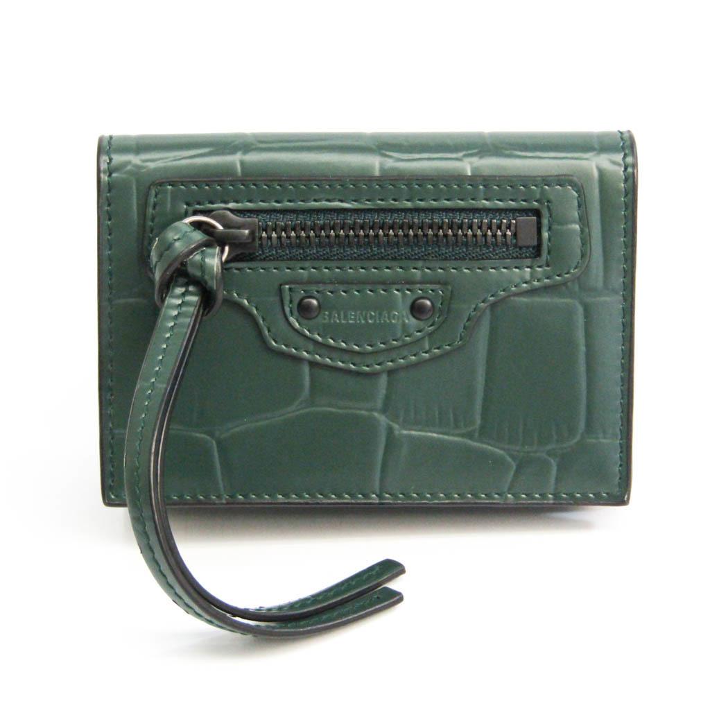 バレンシアガ(Balenciaga) クラシック ミニ 640107 レディース レザー 財布(三つ折り) ダークグリーン