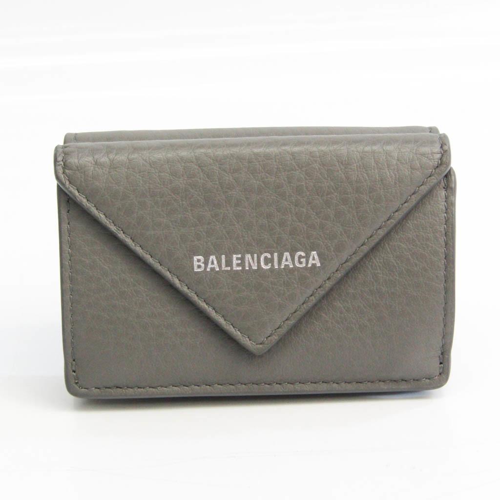 バレンシアガ(Balenciaga) ペーパー ミニウォレット 391446 ユニセックス レザー 財布(三つ折り) グレー