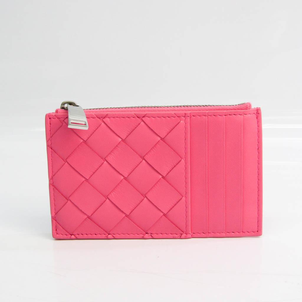 ボッテガ・ヴェネタ(Bottega Veneta) イントレチャート レザー カードケース ピンク