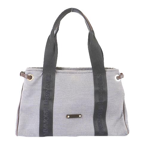 Auth Salvatore Ferragamo Tote Bag Women's Canvas Handbag,Tote Bag Navy