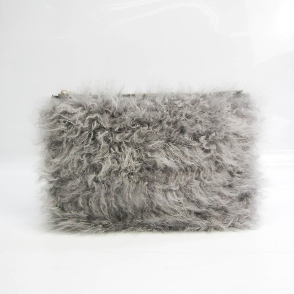 Valextra Women's Leather,Fur Clutch Bag Black,Gray