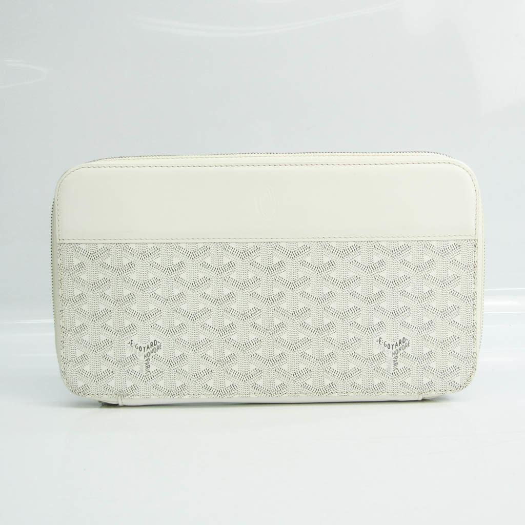 Goyard Opera Organizer Document Case Herringbone Unisex Coated Canvas,Leather Clutch Bag Gray,White