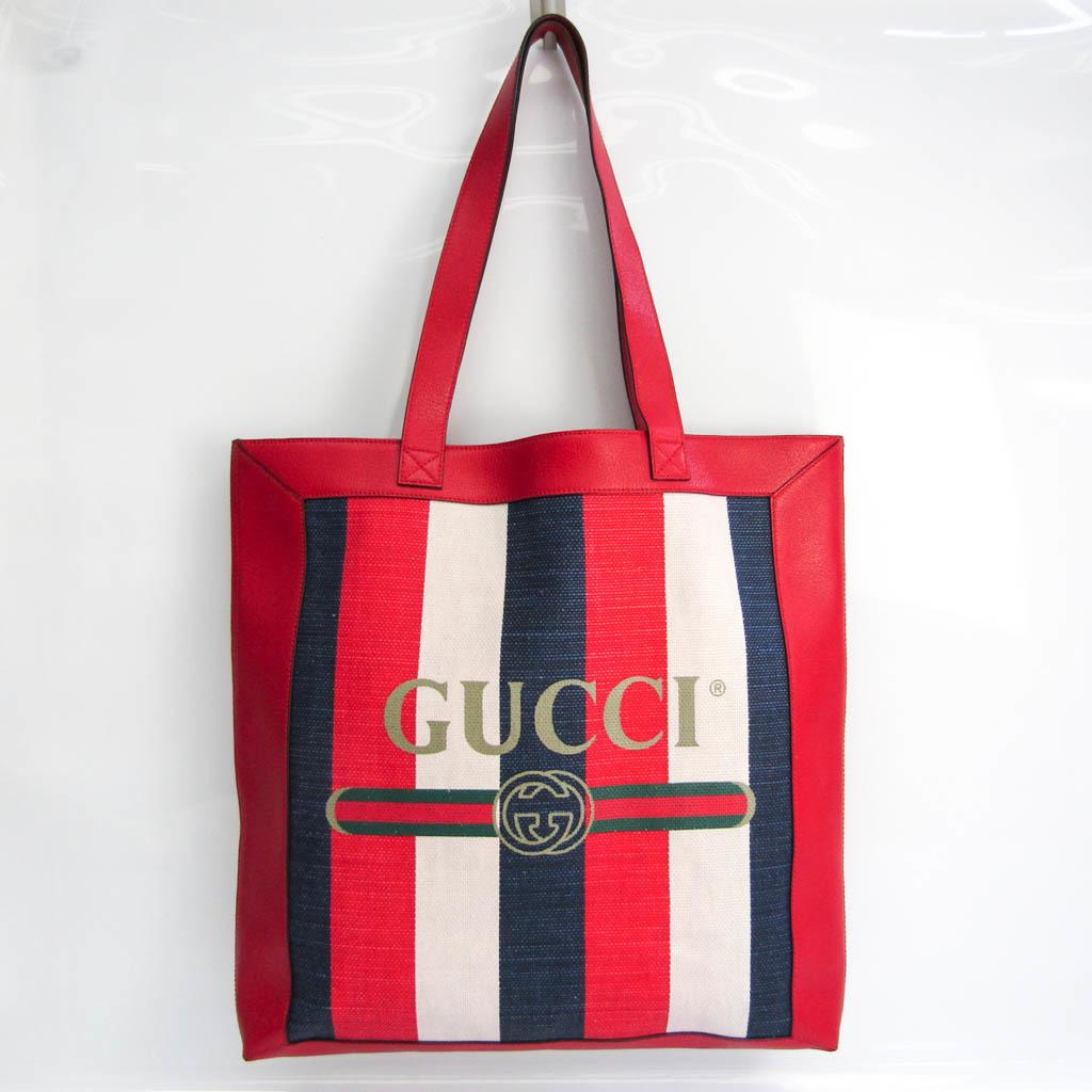 グッチ(Gucci) トリコロール ストライプ ロゴ プリント523781 レディース リネン,レザー トートバッグ ネイビー,オフホワイト,レッド