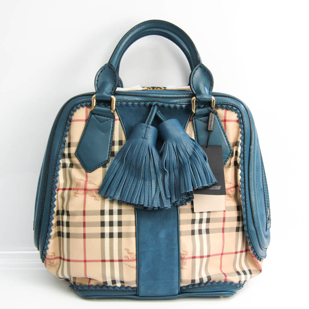 Burberry 3788722 Women's Leather,PVC Handbag Beige,Blue Green,Multi-color