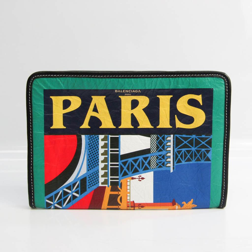 Balenciaga PARIS 476046 Unisex Leather Clutch Bag Green,Multi-color