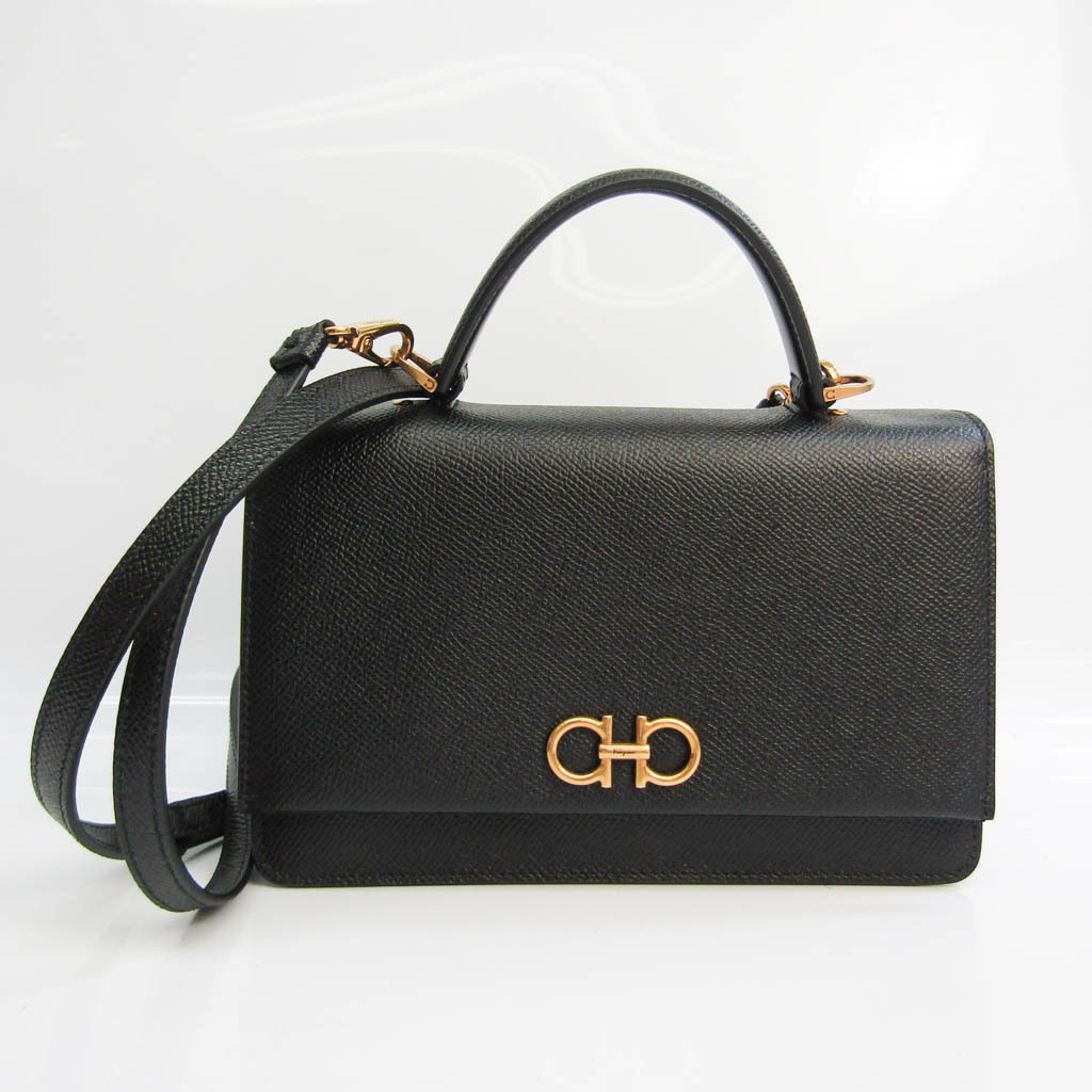 Salvatore Ferragamo JP-22-D866 Women's Leather Handbag,Shoulder Bag Black