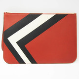 Valextra Women's Leather Clutch Bag Black,Off-white,Red Brown