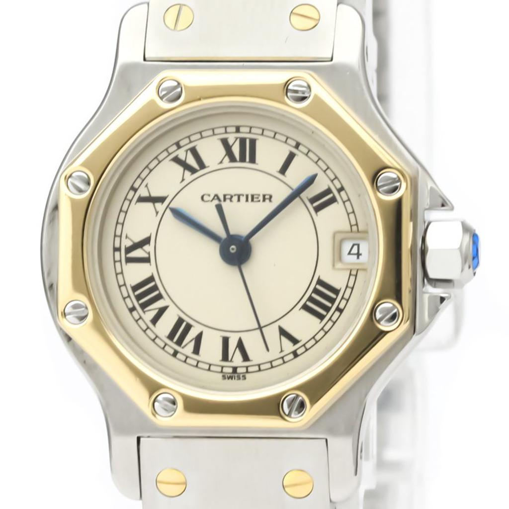 Cartier Santos Octagon Quartz Stainless Steel,Yellow Gold (18K) Women's Dress Watch 187903