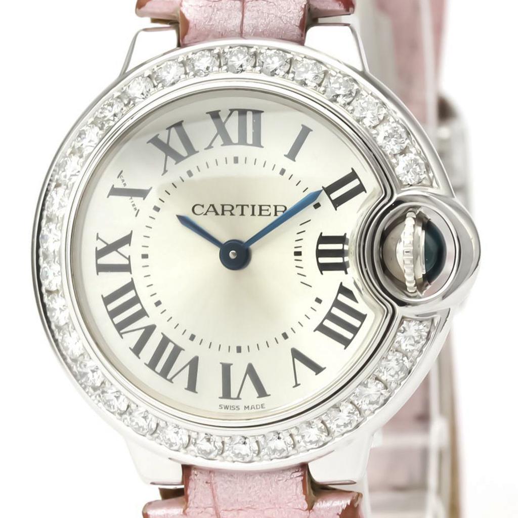 【CARTIER】カルティエ バロンブルー ダイヤモンド K18 ホワイトゴールド レザー クォーツ レディース 時計 WE900351