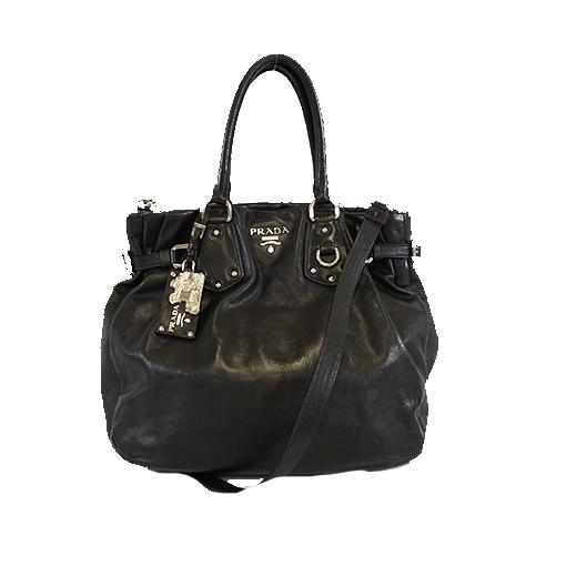 Auth Prada 2WAYbag Women's Leather Handbag,Shoulder Bag Black