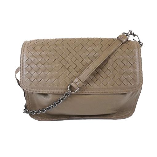 Auth Bottega Veneta Intrecciato Shoulder Bag Women's Leather Shoulder Bag Grayish