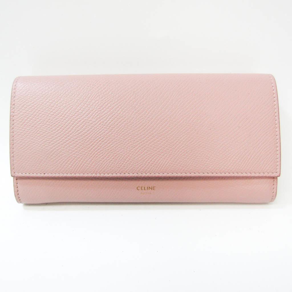 セリーヌ(Celine) ラージフラップ レディース  カーフスキン 長財布(二つ折り) ピンク