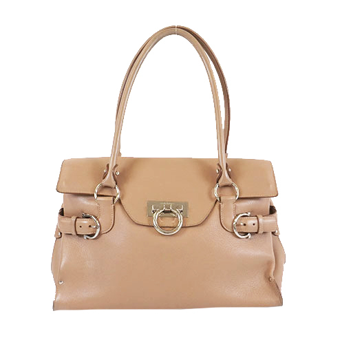 Auth Salvatore Ferragamo Gancini Shoulder Bag Women's Leather Handbag,Shoulder Bag Beige