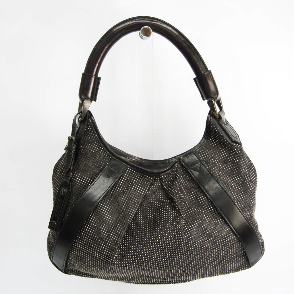 Burberry Women's Leather Studded Shoulder Bag Black