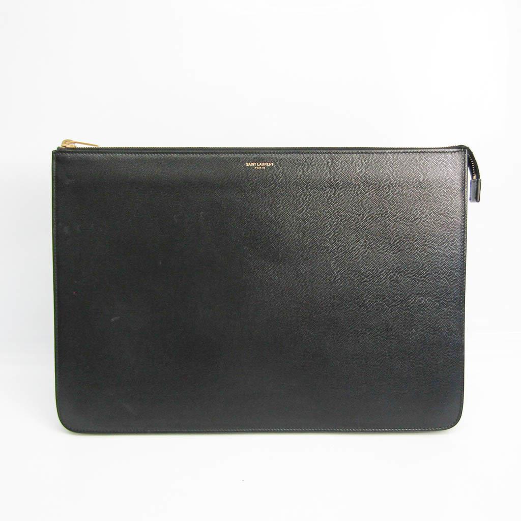 Saint Laurent 327100 Men's Leather Clutch Bag Black