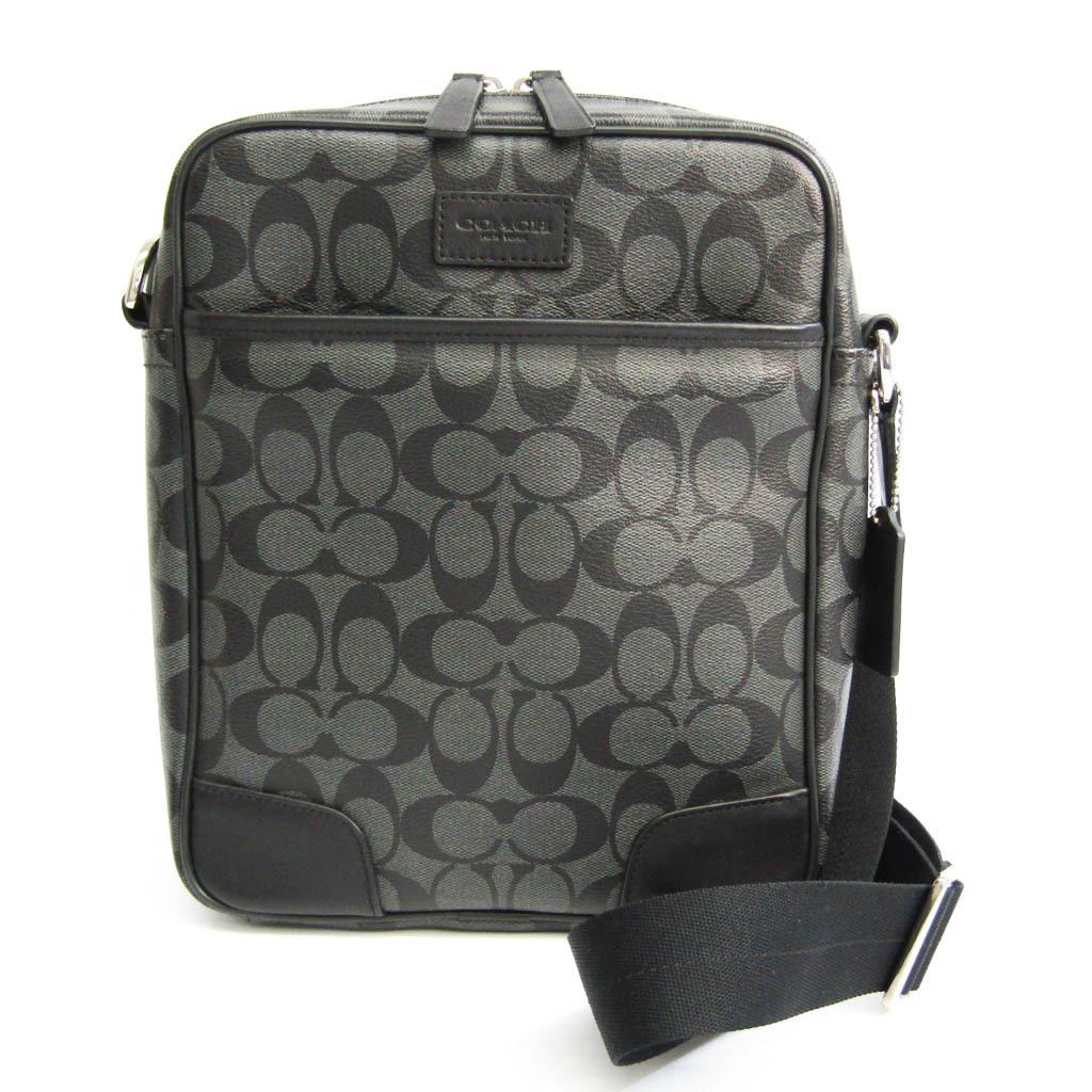 Coach Signature F71167 Unisex Leather,Coated Canvas Shoulder Bag Black,Charcoal Gray