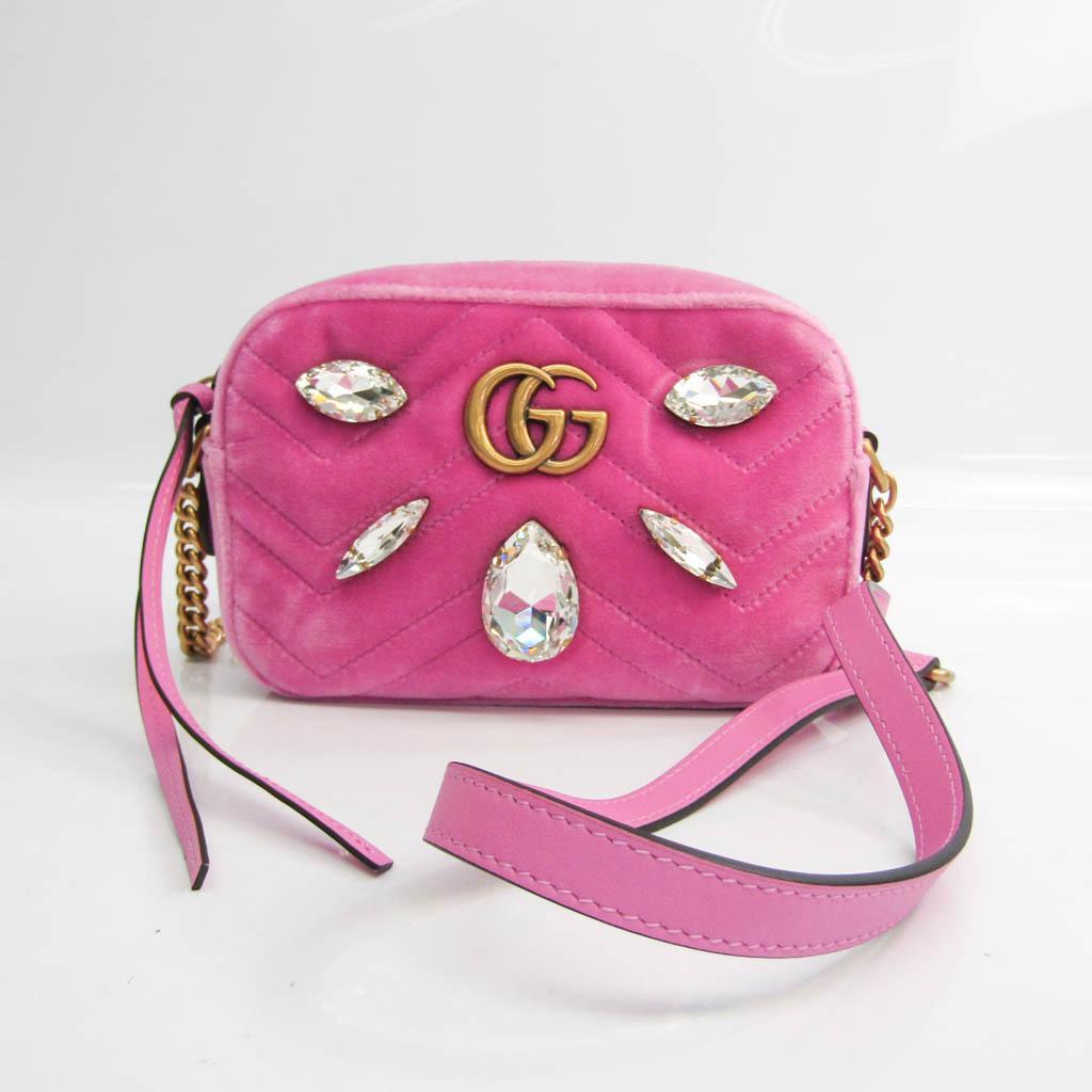 Gucci GG Marmont Bijou 448065 Women's Velvet,Leather Shoulder Bag Pink