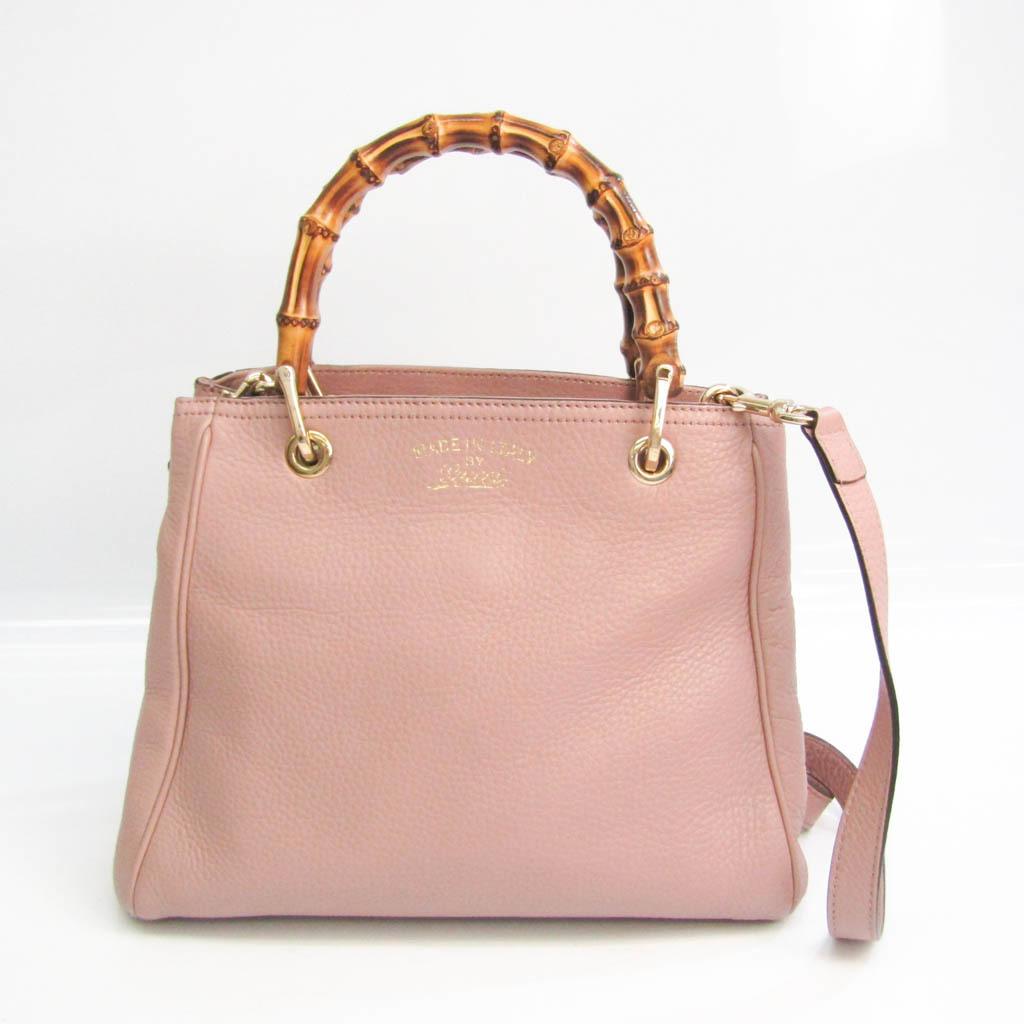 Gucci Bamboo Shopper Medium 336032 Women's Leather,Bamboo Handbag,Shoulder Bag Pink