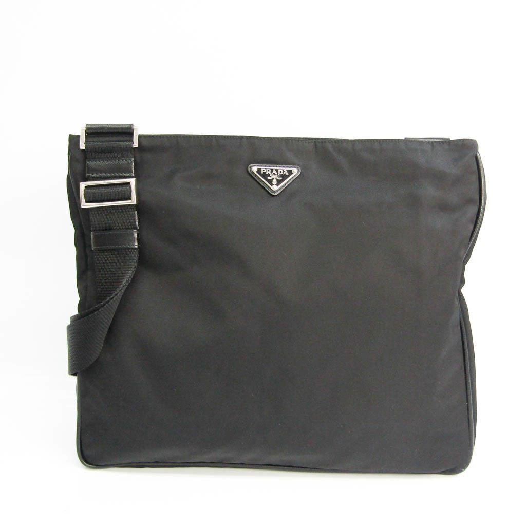 Prada Unisex Leather,Nylon Shoulder Bag Black