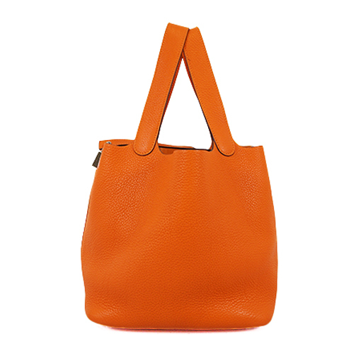 Auth Hermes Picotin Lock □Nstamp Women's Taurillon Clemence Leather Handbag Orange