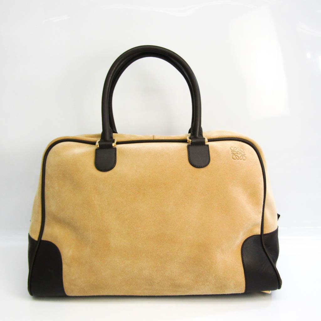 Loewe Amazona 44 Women's Leather,Suede Boston Bag,Handbag Beige,Dark Brown