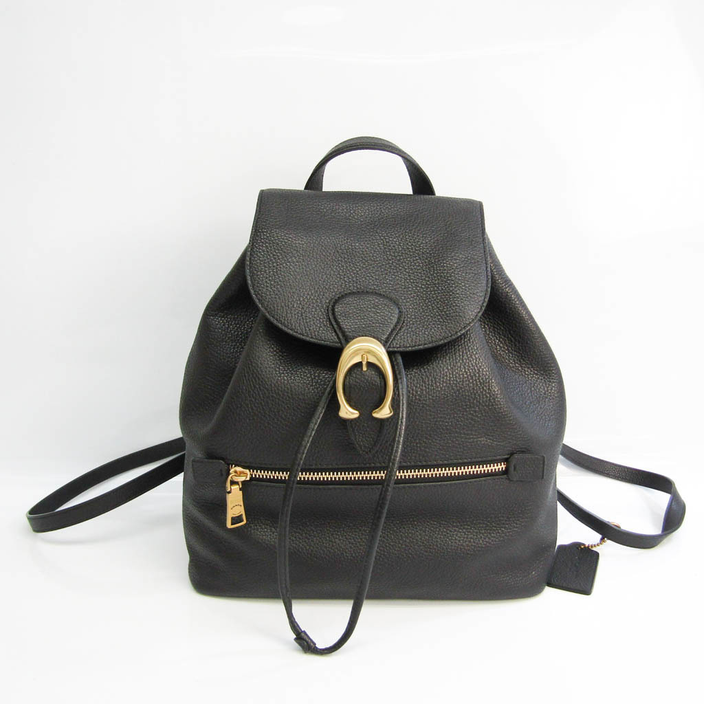Coach Evie Polished Pebble Leather 68380 Women's Leather Backpack Black