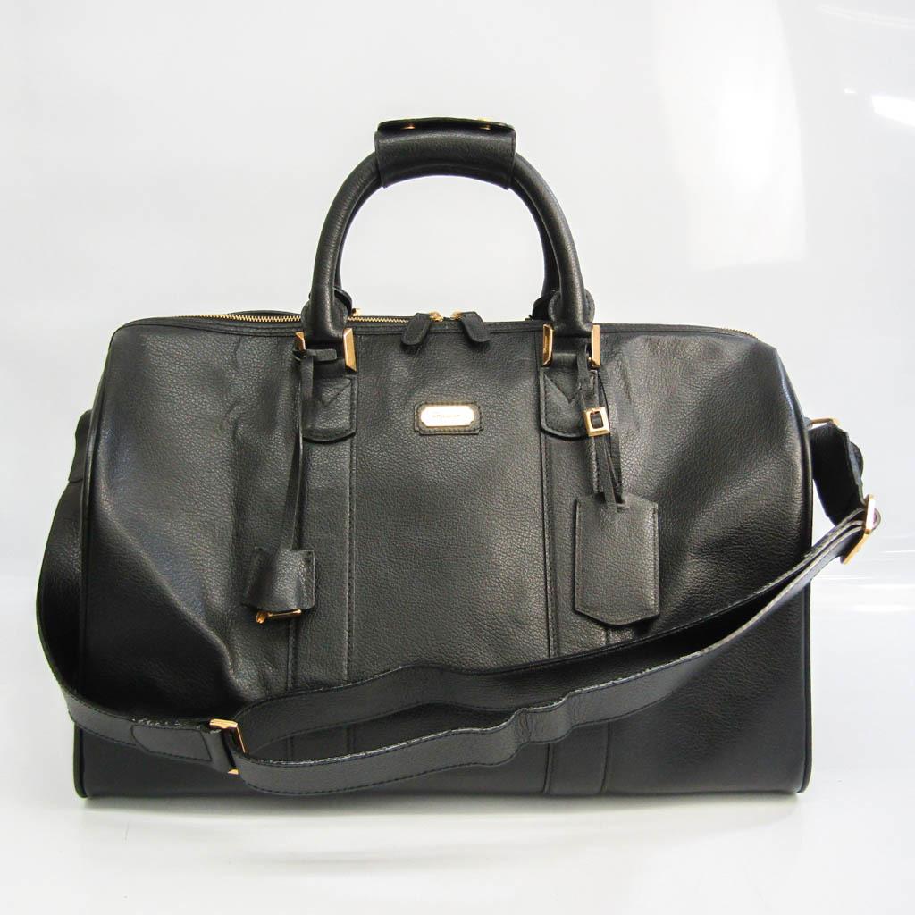 Salvatore Ferragamo 24 3240 Men,Unisex Leather Boston Bag Black
