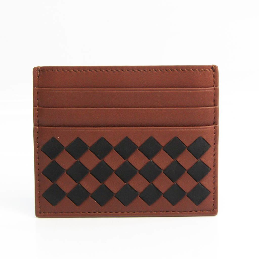 Bottega Veneta Intrecciato Leather Card Case Black,Dark Brown