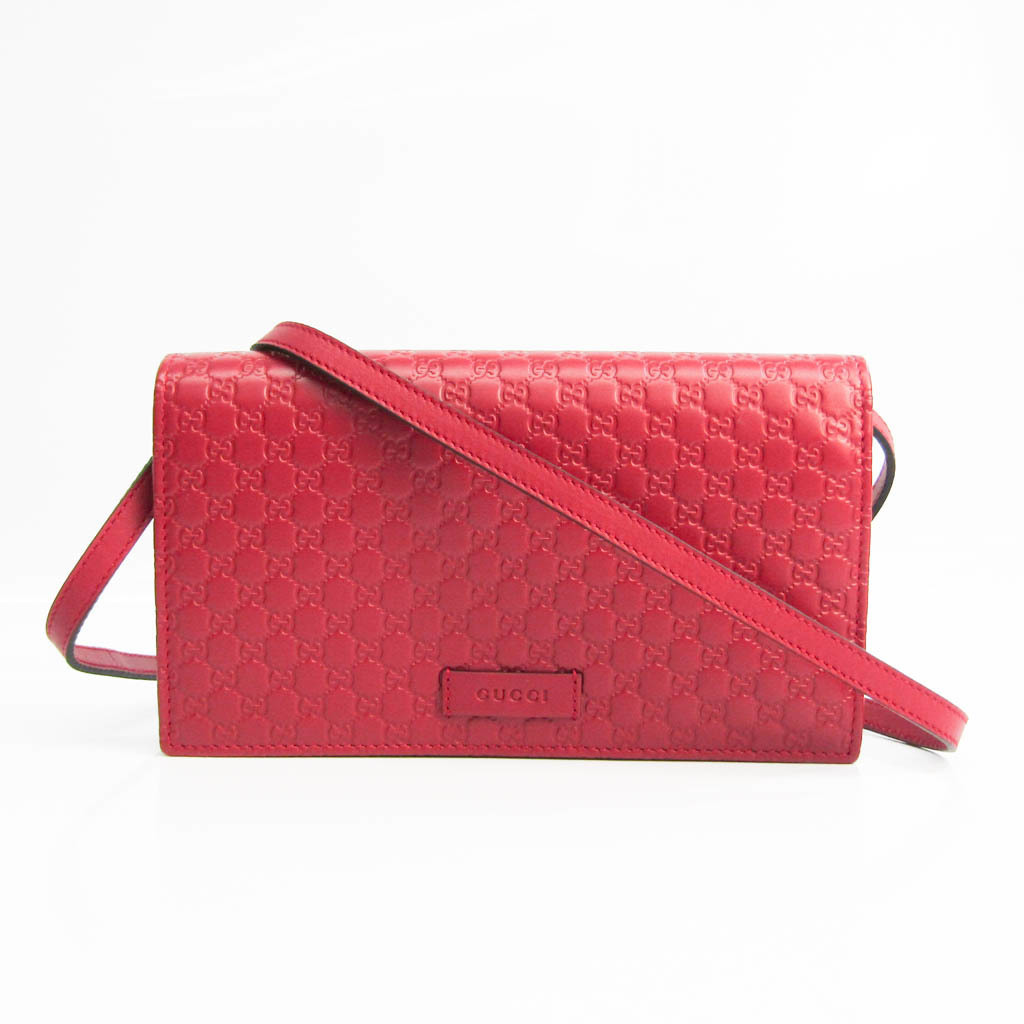 Gucci MicroGuccissima 466507 Women's Leather Chain/Shoulder Wallet Red Color