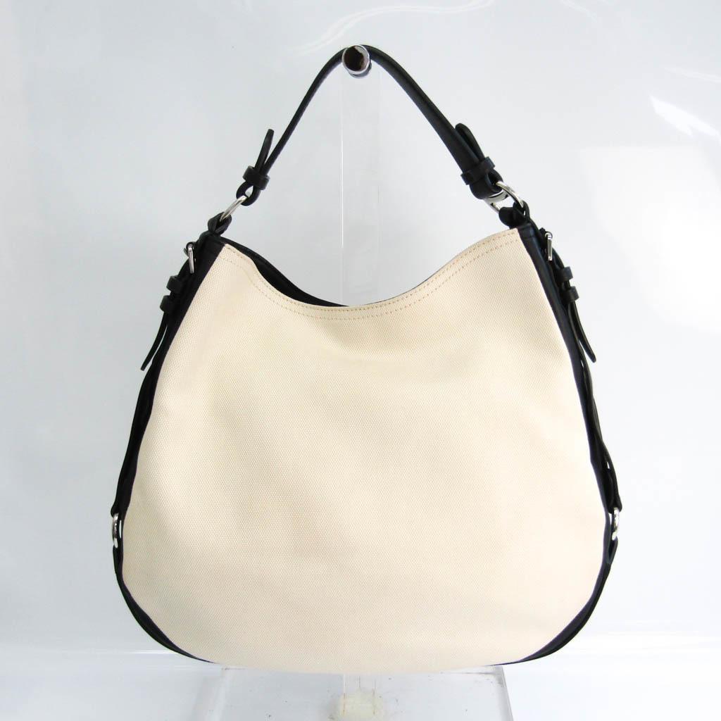 Ralph Lauren Polo Unisex Leather,Canvas Tote Bag Black,Off-white