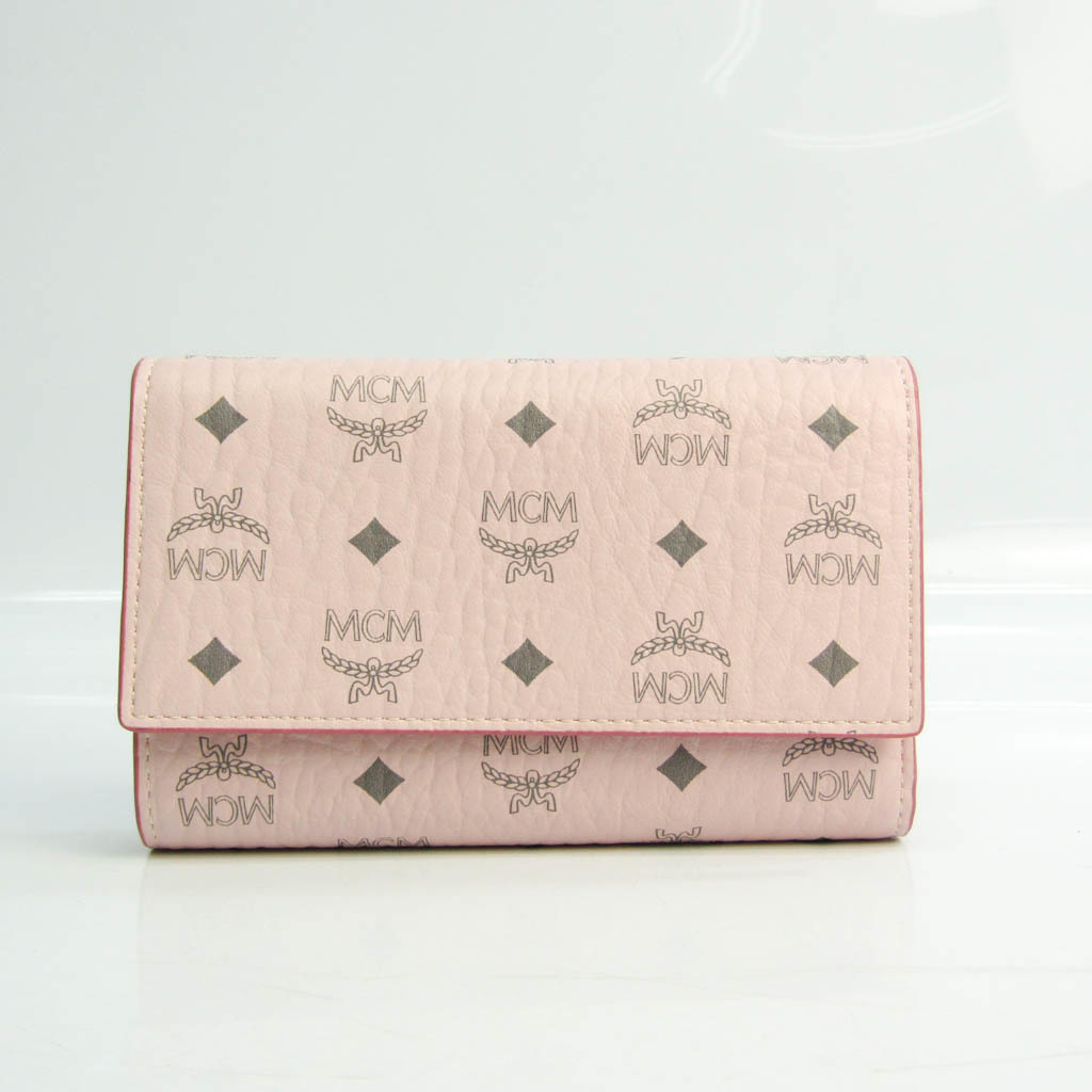 MCM VISETOS ORIGINAL MYSAAVI01QH001 Women's Leather,PVC Middle Wallet (tri-fold) Gray,Light Pink