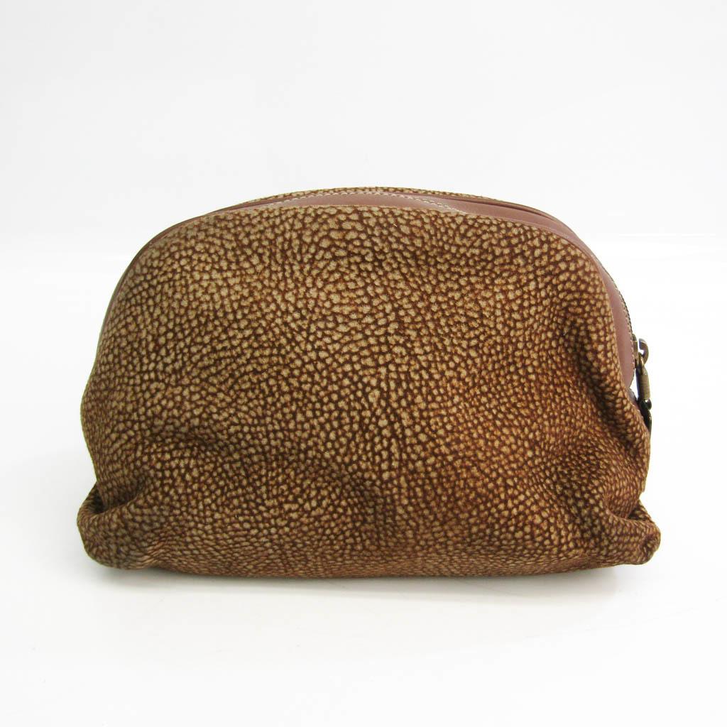 Borbonese Quail Pattern Women's Suede,Leather Pouch Beige,Dark Brown