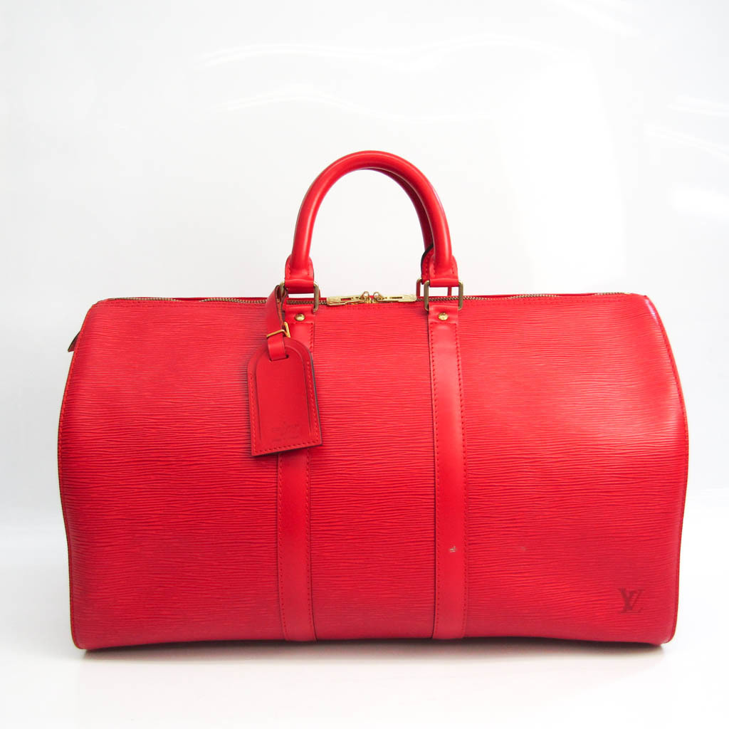 Louis Vuitton Epi Keepol 45 M42977 Unisex Boston Bag Castilian Red