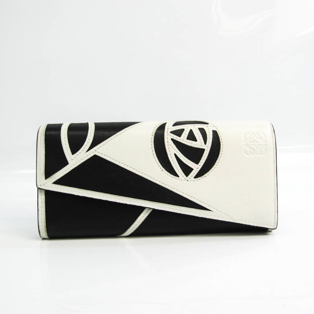 Loewe Puzzle Rose Women's Leather Long Wallet (bi-fold) Black,White