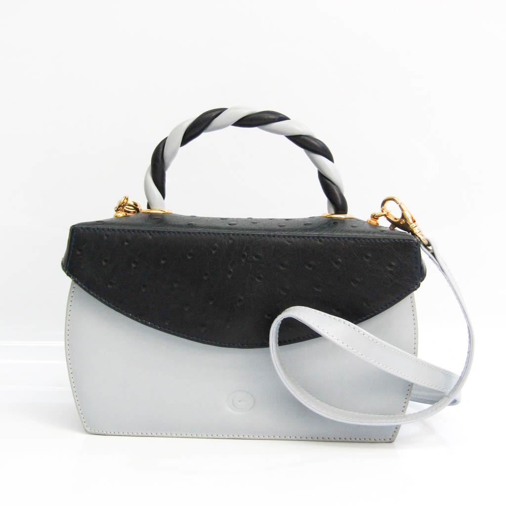 Gherardini Women's Leather Handbag,Shoulder Bag Light Blue Gray,Navy