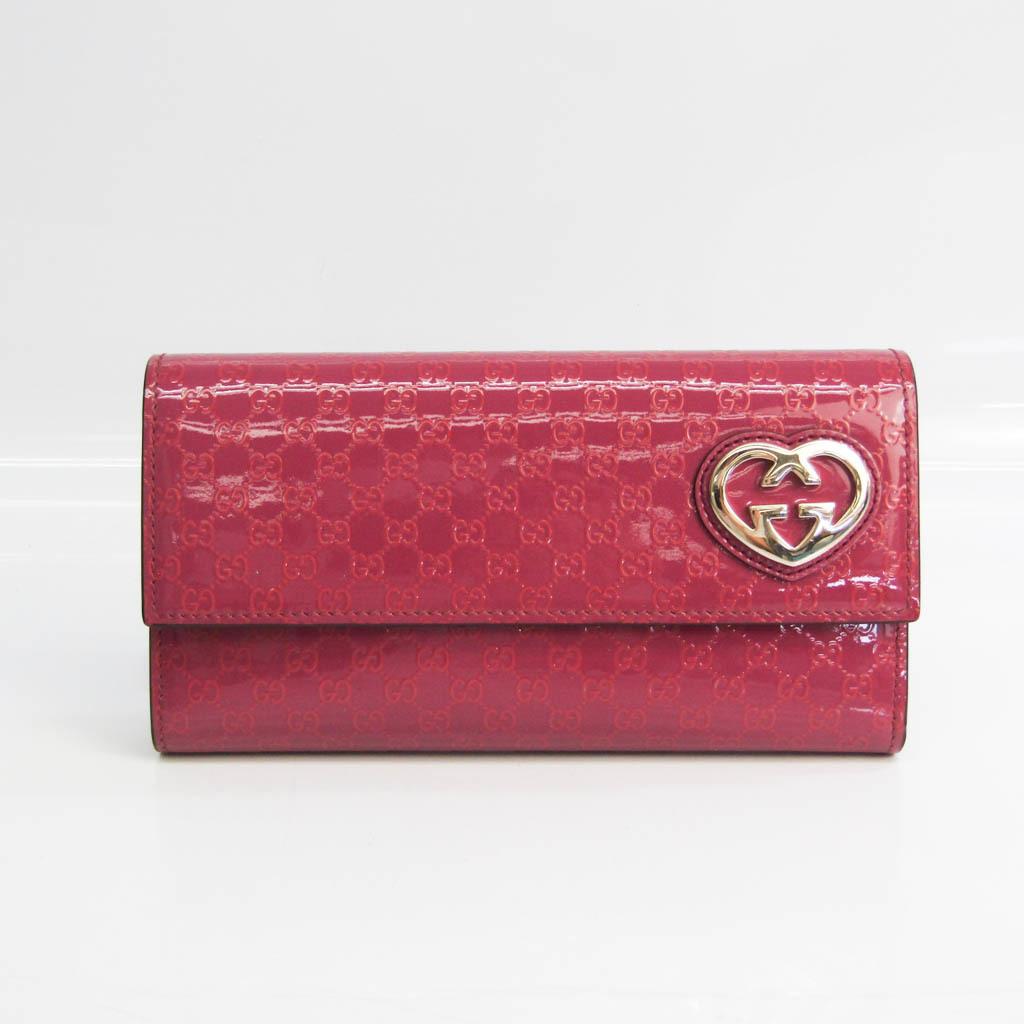 グッチ(Gucci) ラブリーライン マイクロGG 251861 レディース  パテントレザー 長財布(二つ折り) ピンク