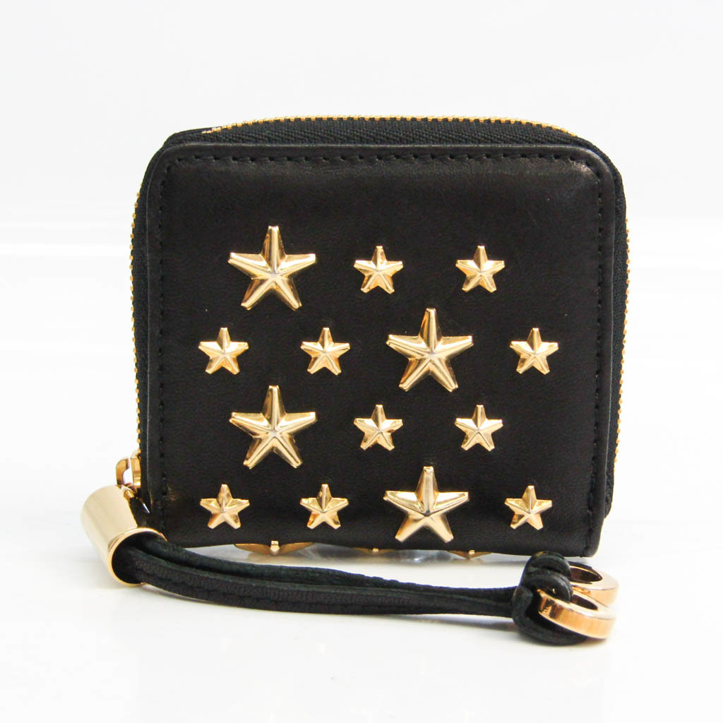 Jimmy Choo Women's Leather Studded Coin Purse/coin Case Black