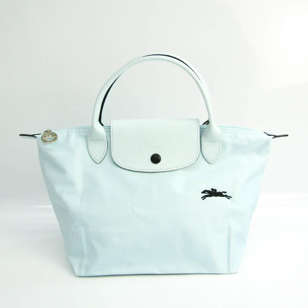 Longchamp Le Pliage Club 1621 619 P32 Women's Nylon,Leather Handbag Light Blue
