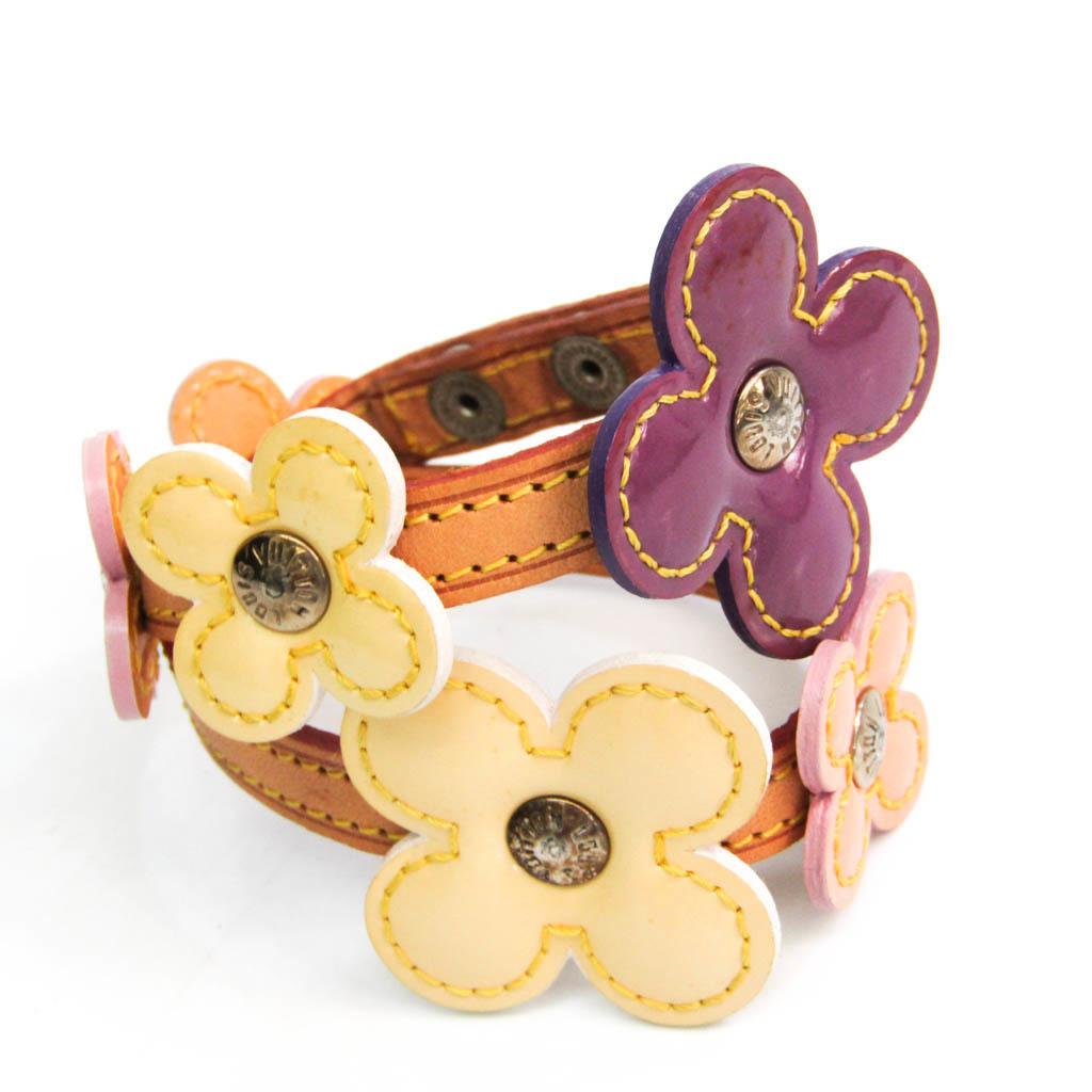 Louis Vuitton Flower Lexington Bracelet Fleur Choker M92252 Enamel Bangle Beige,Cream,Purple