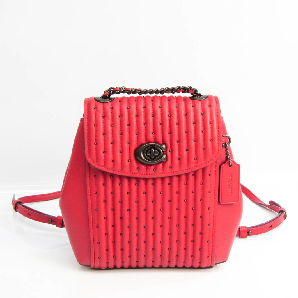 Coach Parker Convertible Backpack 76362 Women's Leather Backpack Red Color