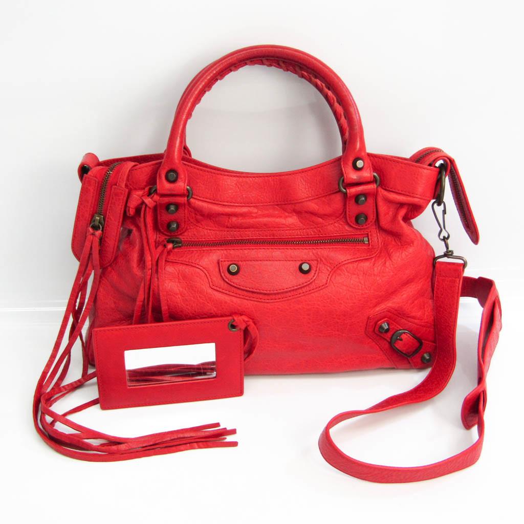 Balenciaga Town 240579 Women's Leather Handbag,Shoulder Bag Red Color