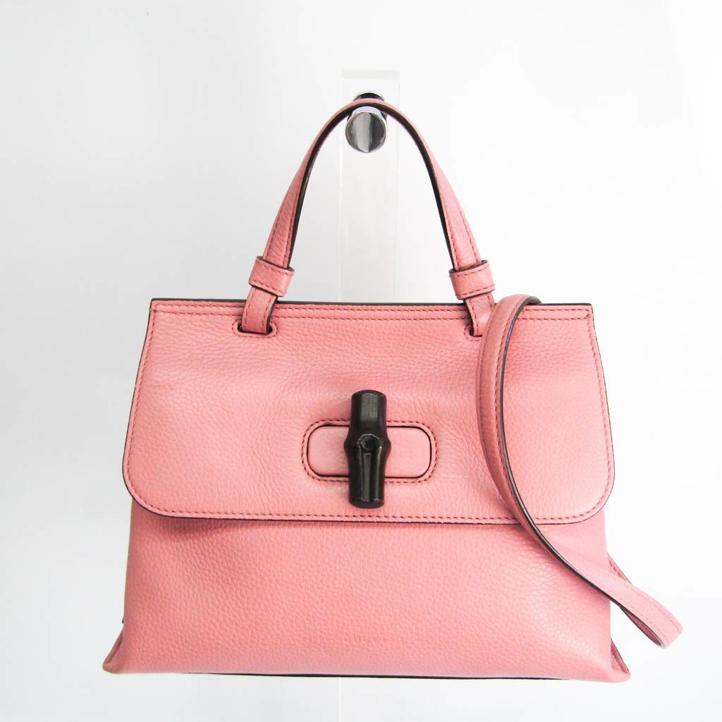 グッチ(Gucci) デイリー バンブー 370831 レディース レザー,バンブー ハンドバッグ,ショルダーバッグ ピンク