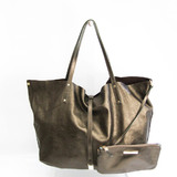Tiffany Reversible Women's Suede,Leather Tote Bag Khaki