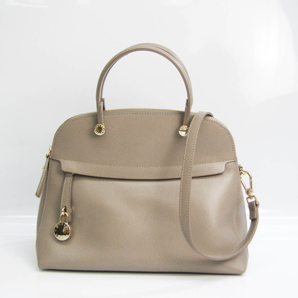 Furla Piper M Women's Leather Handbag,Shoulder Bag Gray
