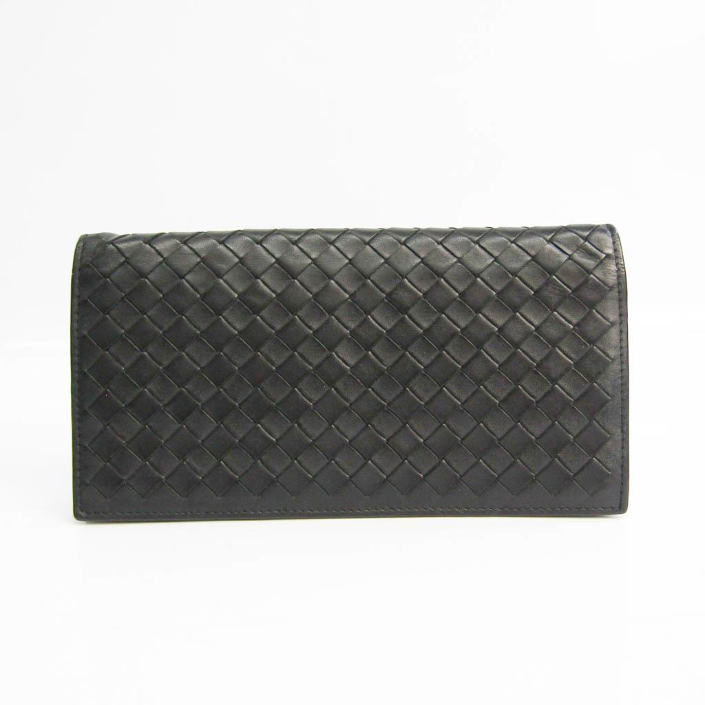 Bottega Veneta Intrecciato Men's Leather Long Wallet (bi-fold) Black