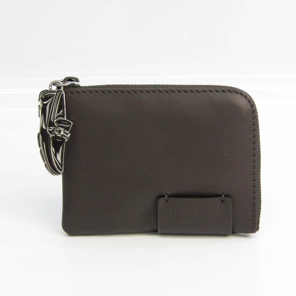 Salvatore Ferragamo FZ-66 0009 Men's Leather Coin Purse/coin Case Dark Brown