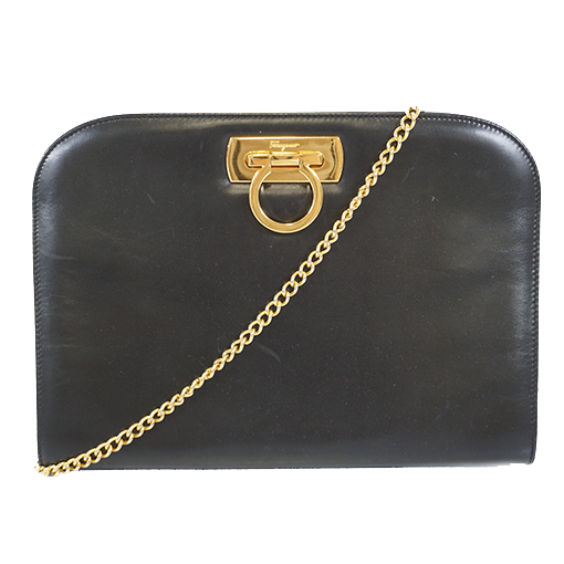 Auth Salvatore Ferragamo Gancini 2way Bag Women's Leather Clutch Bag,Shoulder Bag Black