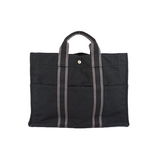 Auth Hermes Fourre Tout Fool Toe Men,Women,Unisex Canvas Handbag,Tote Bag Black