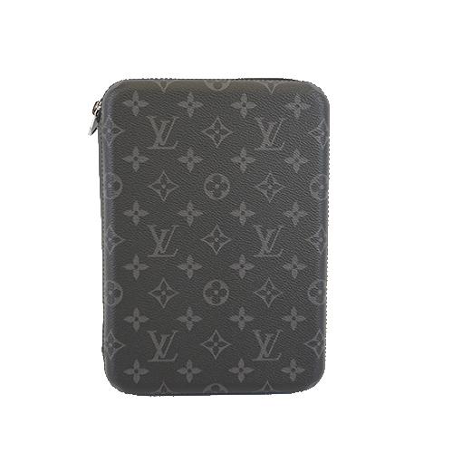 Auth Louis Vuitton Monogram Eclipse IPAD Cover Box M61870 Men's Clutch Bag